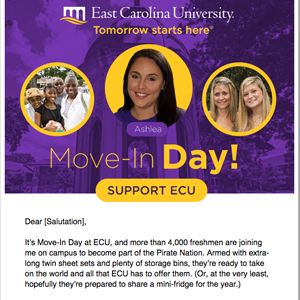 Thumbnail image of an East Carolina University email that MainSpring created for an end of fiscal year email series