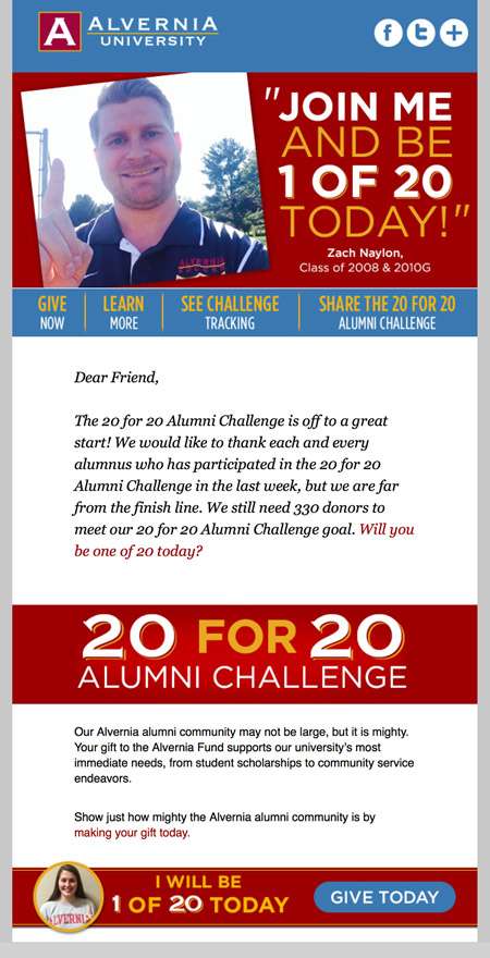Image of an email from a challenge campaign email series MainSpring created for Alvernia University