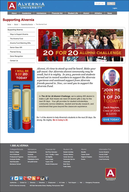 Image of a mobile responsive giving form MainSpring created for Alvernia University