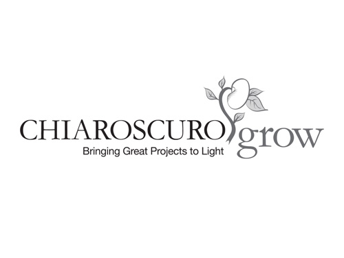Black and white logo created by MainSpring for the organization Chiaroscuro Grow
