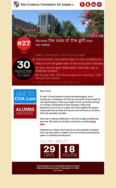 Image of an email from an end of fiscal year email series created by MainSpring for the Columbus School of Law, Catholic University