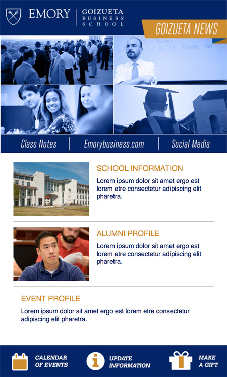 Image of an email template created for Emory University, Goizueta School of Business