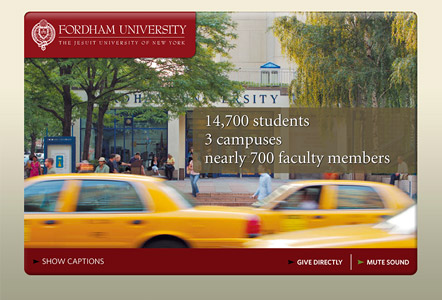 Image linking to a donor acquisition video MainSpring created for Fordham University