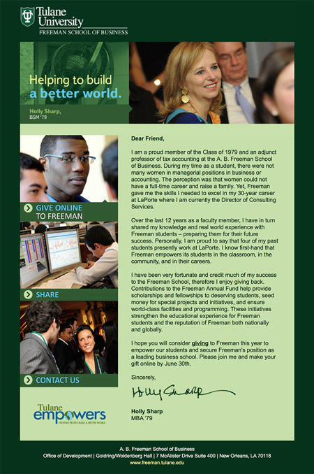 Image of an email from an end of fiscal year email series created by MainSpring for the Freeman School of Business at Tulane University