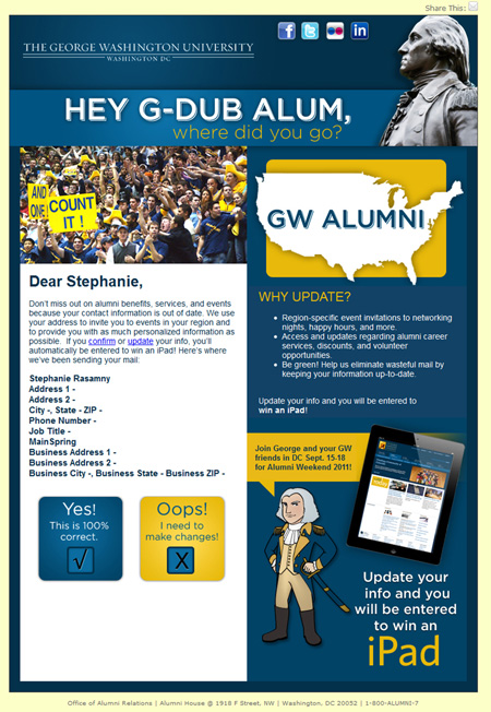 Image of an email from an update contact information campaign that MainSpring developed for George Washington University