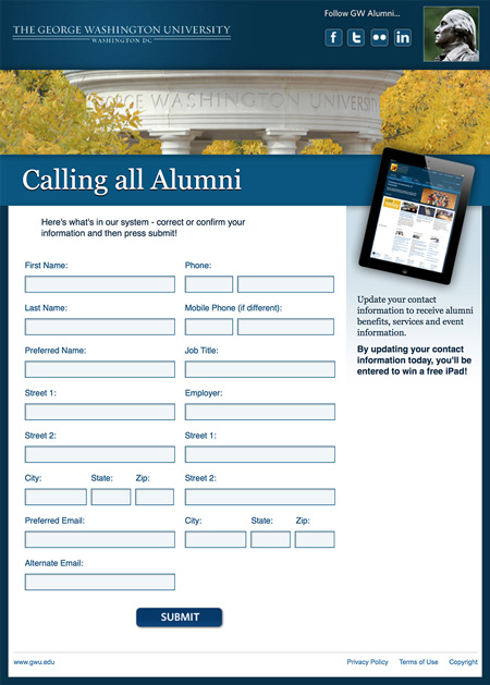 Image of a survey that MainSpring created for George Washington University to collect updated alumni contact information
