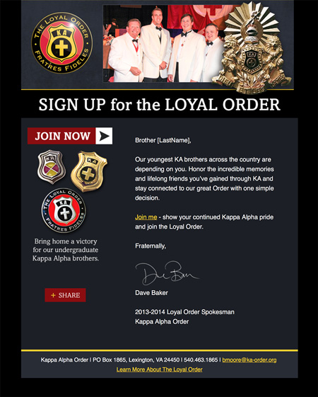 Image of an email from a loyal order email campaign series MainSpring created for Kappa Alpha Fraternity