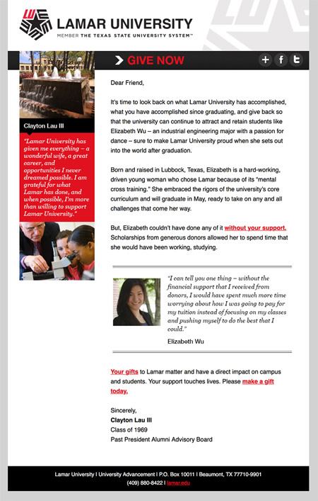 Image of an email from an end of fiscal year email series MainSpring created for Lamar University
