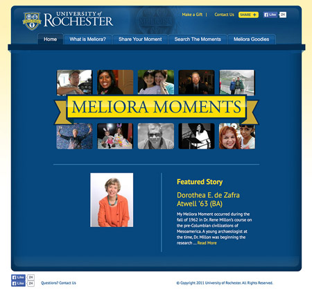 Image of the meliora moments microsite MainSpring created for the University of Rochester built to increase alumni engagement