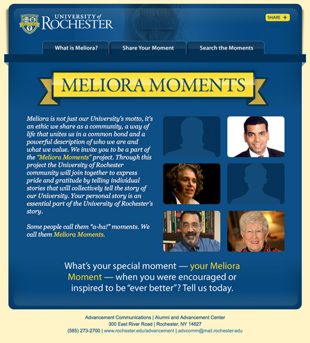 Image of an email from the meliora moments campaign MainSpring created for the University of Rochester to help increase alumni engagement