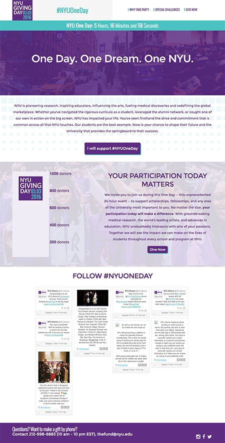 Image of Launch homepage of New York University Giving Day