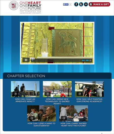 Image of a video enabled webpage created by MainSpring for Sacred Heart University
