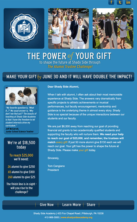 Image of challenge campaign email MainSpring created for Shady Side Academy