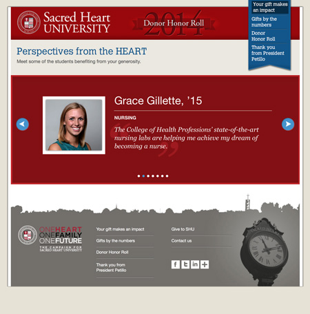 Image of student testimonial from digital donor impact report MainSpring created for Sacred Heart University