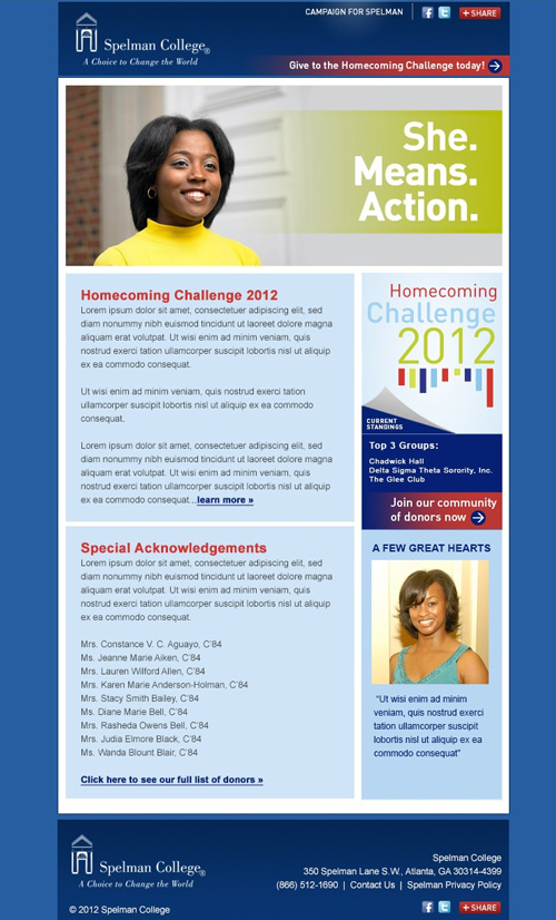 Image of an email template created for Spelman college