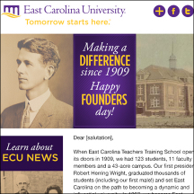 Thumbnail image of an East Carolina University founders day email that MainSpring created
