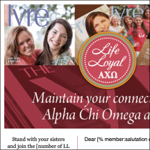 Thumbnail image of an Alpha Chi Omega Fraternity email that MainSpring created for a Life Loyal program