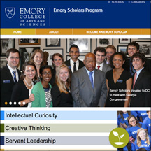 Thumbnail image of the Emory Scholar's website that MainSpring redesigned