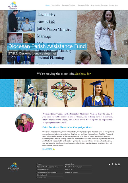 Image of Diocese of Trenton Faith To Move Mountains campaign website developed by MainSpring