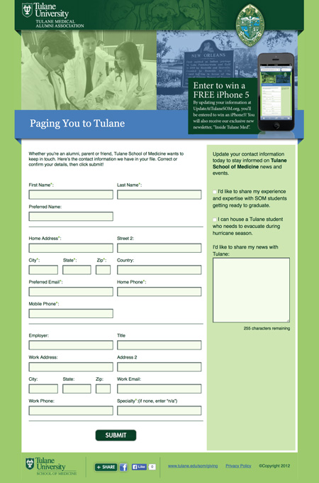 Image of a survey that MainSpring created for Tulane University School of Medicine to collect updated alumni contact information
