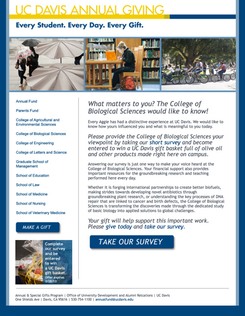 Image of a landing page asking Alumni to participate in a survey that MainSpring created for the University of California at Davis