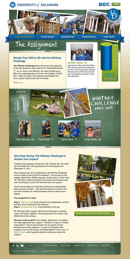 Image of a challenge campaign website MainSpring created for the University of Delaware