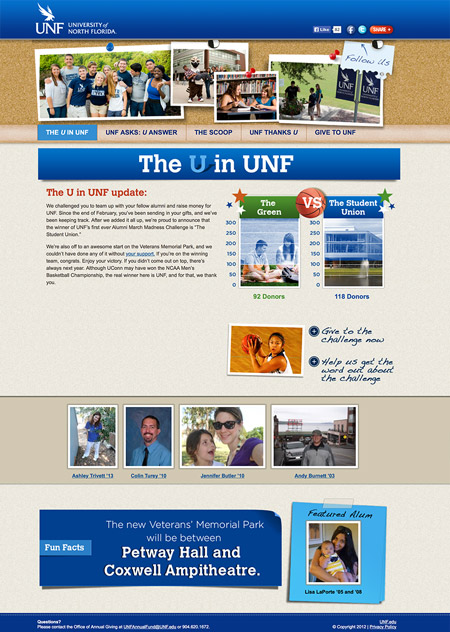 Image of a challenge campaign website MainSpring created for the University of North Florida